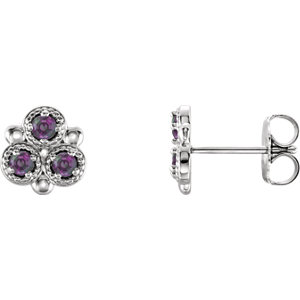 d1155bf88 14K White Chatham® Created Alexandrite Three-Stone Earrings | Stuller