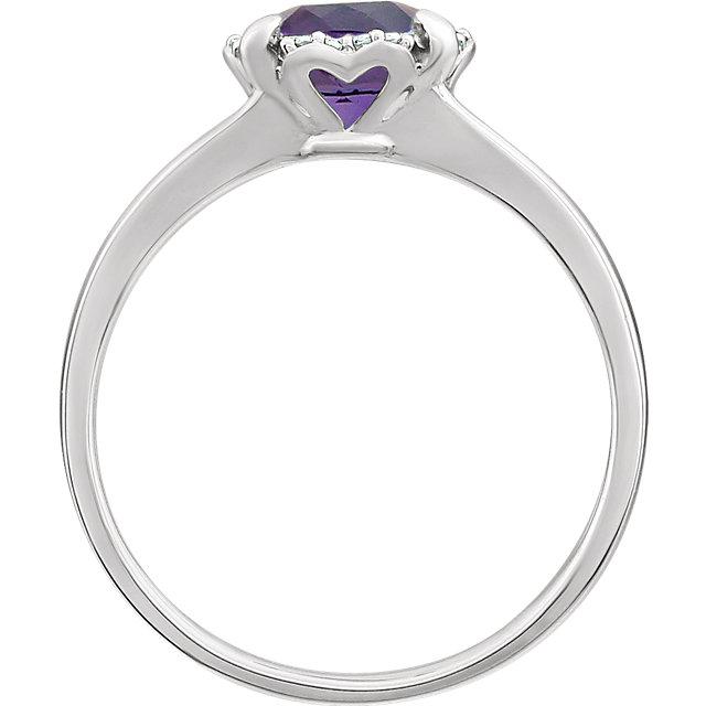 14K White Amethyst & .05 CTW Diamond Ring