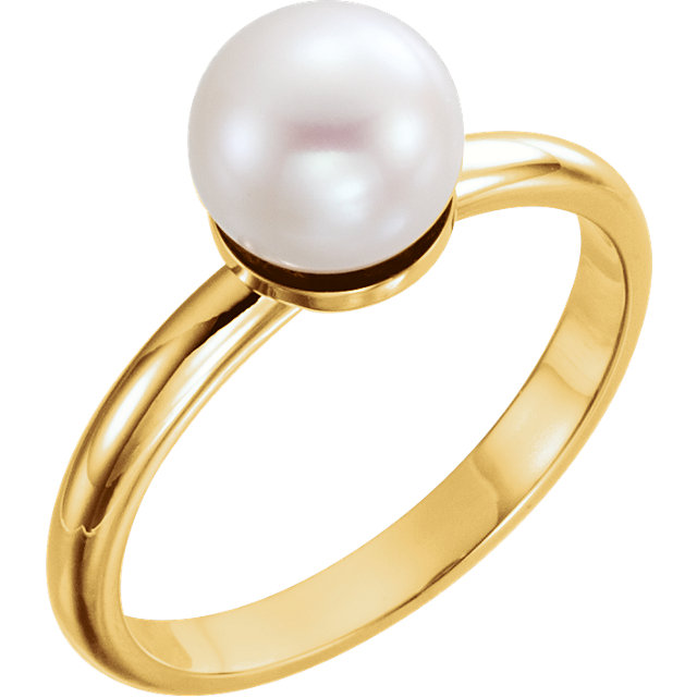 14K Yellow 7.5-8.0mm Freshwater Cultured Pearl Ring