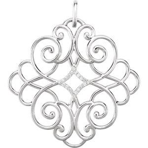 Pendant, Sterling Silver 1/10 CTW Diamond Pendant
