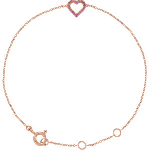 14K Rose Pink Sapphire Heart Bracelet