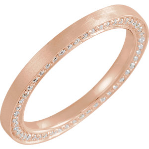 14K Rose 2 mm 1/2 CTW Diamond Accented Band with Satin Finish Size 7