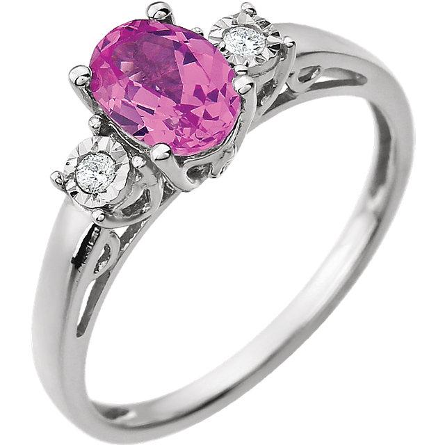 14K White Created Pink Sapphire & .04 CTW Diamond Ring