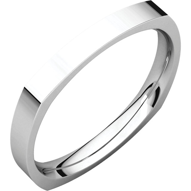 14K White 3 mm Square Comfort-Fit Band Size 6