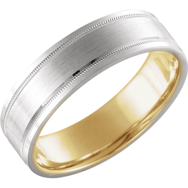 14K White & Yellow 6 mm Comfort-Fit Band Size 10