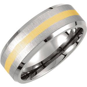 Diamond Princess Titanium & 14K Yellow Gold Inlay Beveled Edge & Satin Finish Band at Sears.com