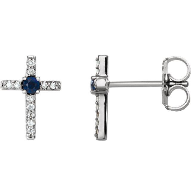 14K White Chatham® Created Blue Sapphire & .06 CTW Diamond Cross Earrings