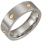 Stainless Steel 7mm Band with 14K Yellow Screws