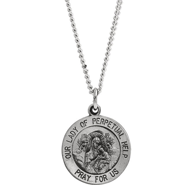 Sterling Silver 15mm Round Our Lady of Perpetual Help 18