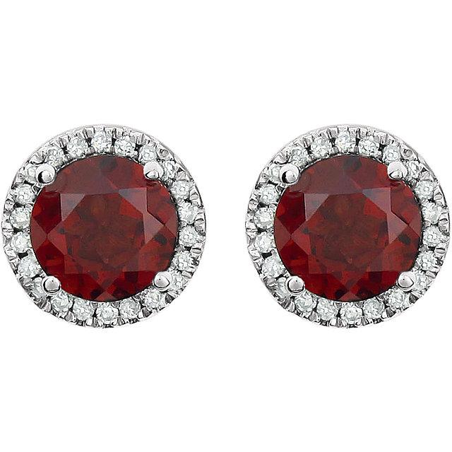 14K White Mozambique Garnet & 1/8 CTW Diamond Earrings