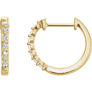 14K Yellow 1/3 CTW Diamond Hoop Earrings