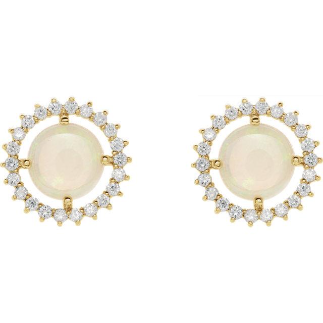 14K Yellow Opal & 1/8 CTW Diamond Earrings