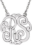 14K White 25 mm 2-Letter Script Monogram Necklace