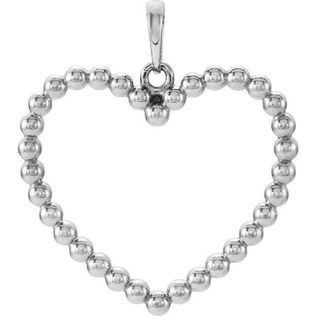 14K White Beaded Heart Pendant