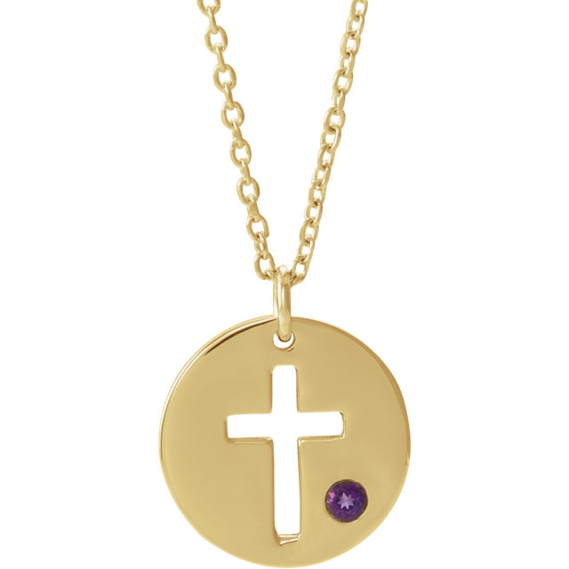 14K Yellow Amethyst Pierced Cross Disc 16-18