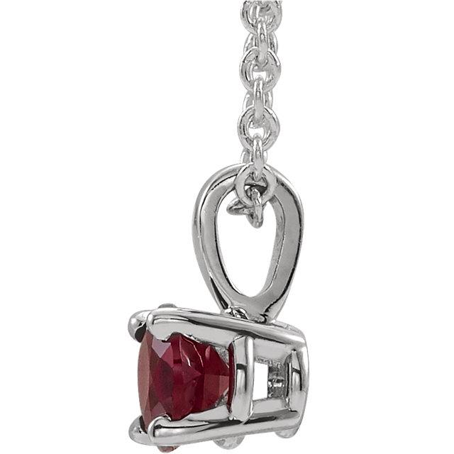 14K White 6 mm Round Chatham® Created Ruby Birthstone Necklace