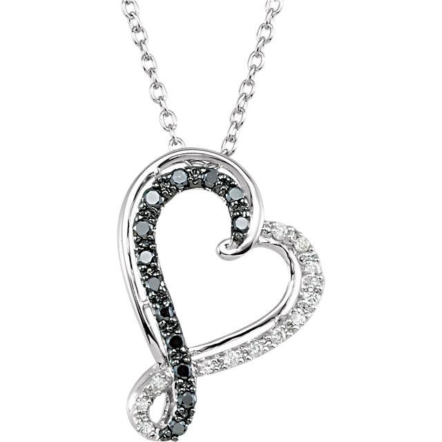 Sterling Silver 1/5 CTW Black & White Diamond Heart 18