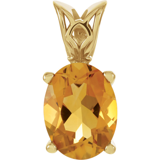 14K Yellow 8x6 mm Citrine Pendant