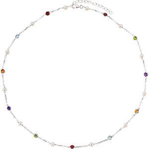 Sterling Silver Freshwater Cultured Pearl & Multi-Gemstone 18