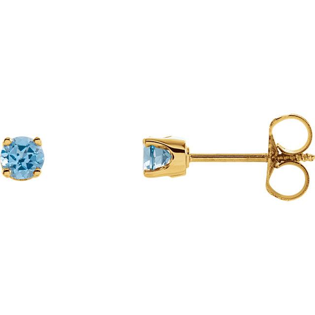 14K Yellow 3 mm Round Swiss Blue Topaz Youth Birthstone Earrings