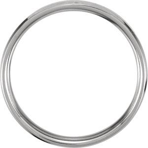 14K White 4mm Beveled Edge Comfort-Fit Band Size 5
