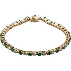 14K Yellow Emerald & 2 1/3 CTW Diamond Bracelet