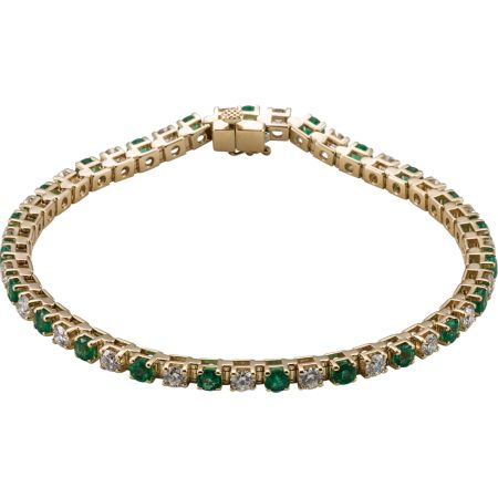 14K Yellow Emerald & 2 1/3 CTW Diamond Bracelet