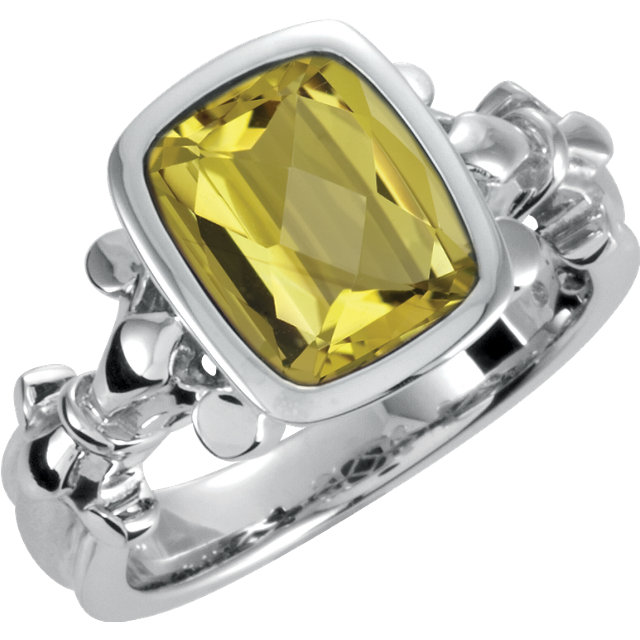 Sterling Silver Yellow Quartz Ring