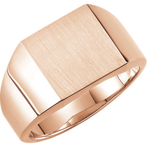 Fashion Rings , 14K Rose 12mm Men's Solid Signet Ring with Brush Finish