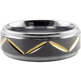 Tungsten Gold Immerse Plated Raised Bevel Band