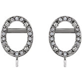 Oval 4-Prong Halo-Style Earring Top with Ring