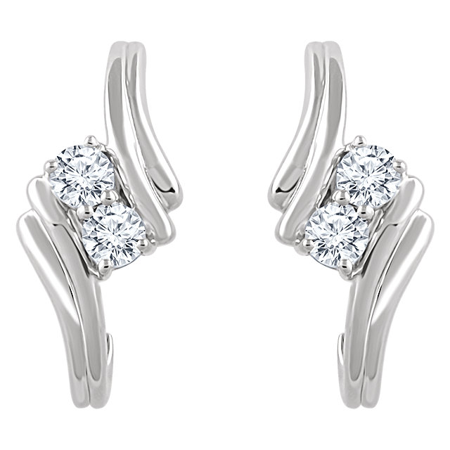 14k White 3 8 Ctw Diamond Two Stone Earrings