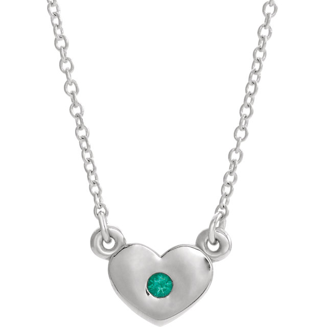 14K White Chatham® Created Emerald Heart 16