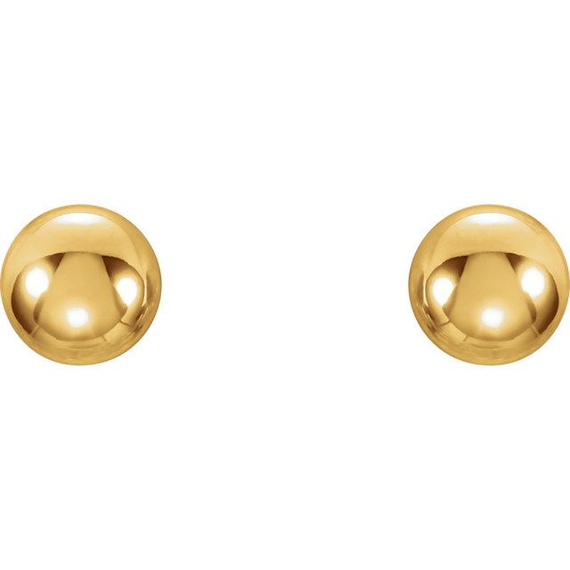14K Yellow 4mm Youth Ball Stud Earrings
