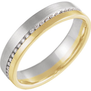 14K White/Yellow 1/3 CTW Diamond 6mm Band Size 11