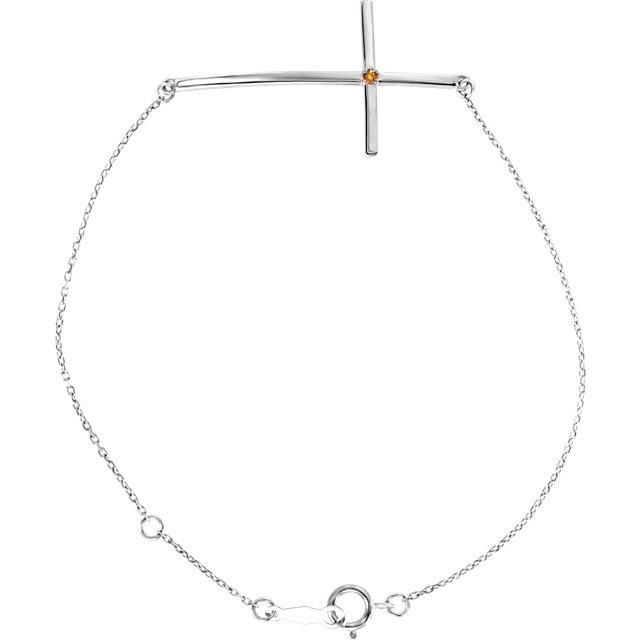 Sterling Silver Citrine Sideways Cross Bracelet