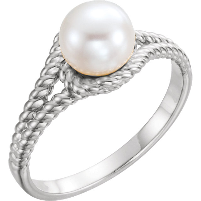 Sterling Silver 7 mm White Freshwater Pearl Rope Ring