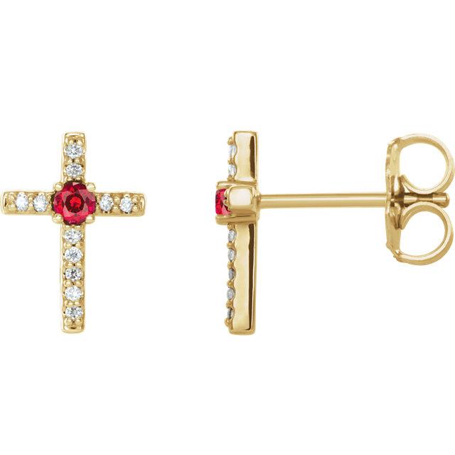 14K Yellow Ruby & .06 CTW Diamond Cross Earrings