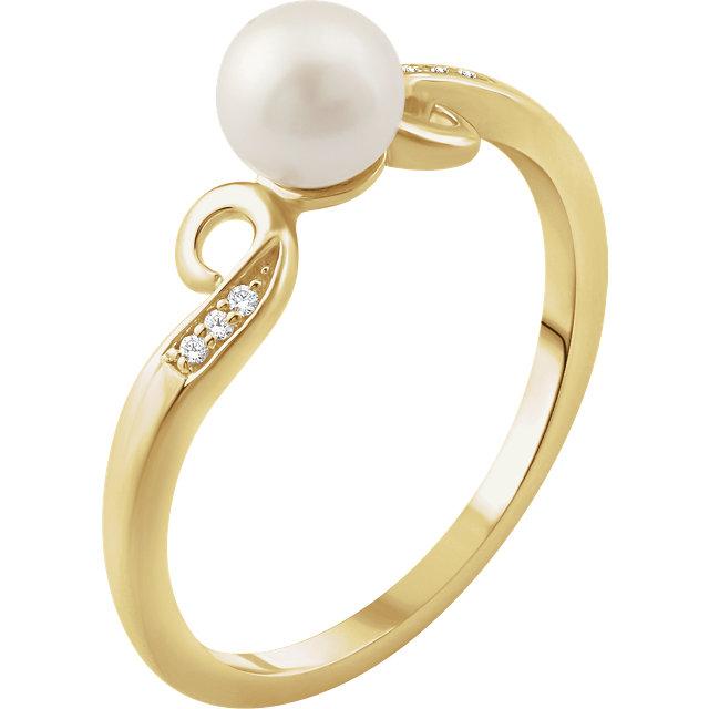14K Yellow Freshwater Cultured Pearl & .02 CTW Diamond Ring