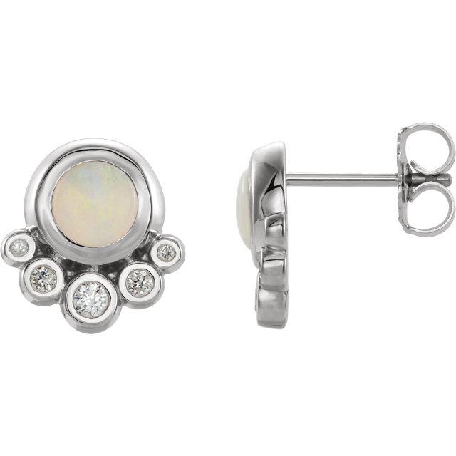 14K White Opal & 1/8 CTW Diamond Earrings