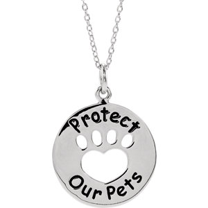 Sterling Silver Heart U Back™ Protect Paw Necklace