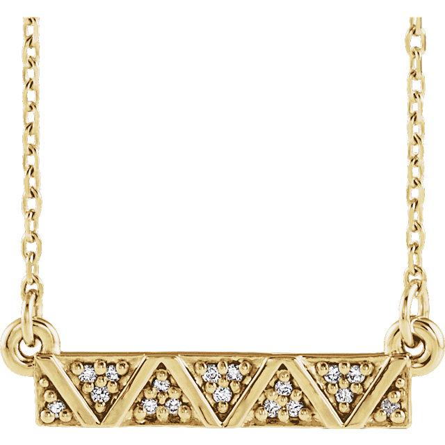 14K Yellow .05 CTW Diamond Geometric Bar 16-18