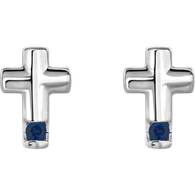 Sterling Silver Blue Sapphire Cross Earrings