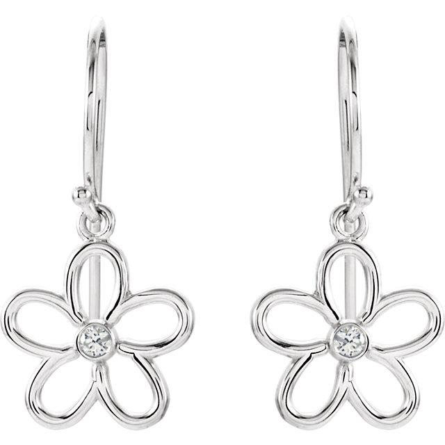 Sterling Silver .06 CTW Diamond Flower Earrings