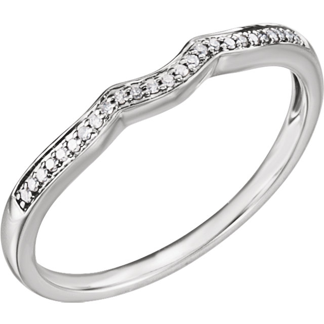 14K White .06 CTW Diamond Band for 4 mm Round Ring