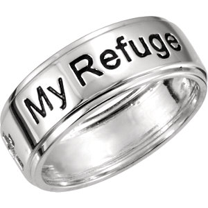 Religious Rings, Sterling Silver My Refuge My Strength Ring Size 12