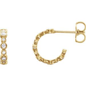 Earrings , 14K Yellow 1/4 CTW Diamond Bezel-Set J-Hoop Earrings