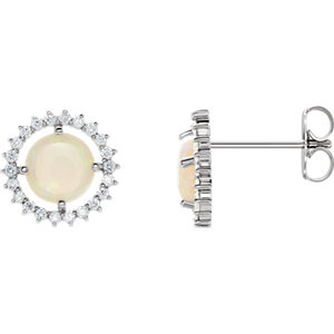 Earrings , Platinum Opal & 1/8 CTW Diamond Earrings