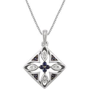 Sterling Silver Blue Sapphire & .025 CTW Diamond 18