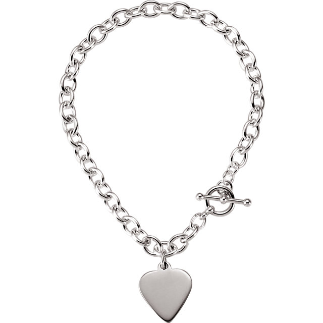 5.75mm Cable Toggle Bracelet with Heart